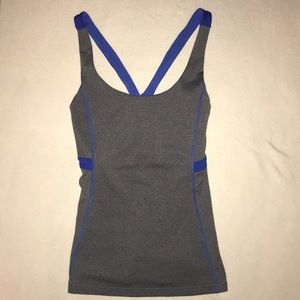 Lucy Heather gray and royal blue tank top